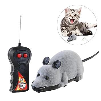 ROSENICE - Juguete para gato de ratón de peluche gris con mando a distancia: Amazon.es: Productos para mascotas