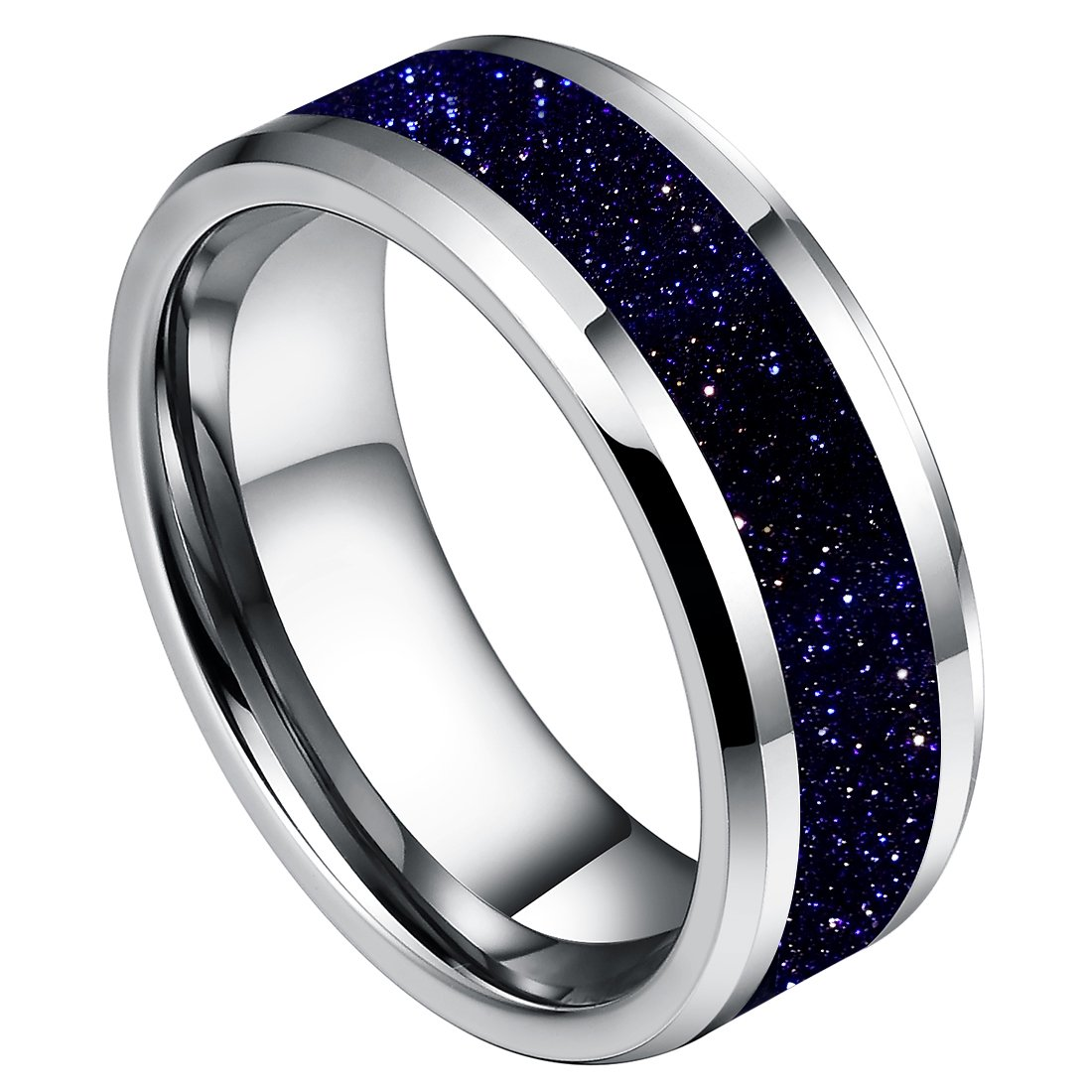 DOUX 8mm Mens White Tungsten Carbide Ring Blue Sandstone Inlay Wedding Band Comfort Fit High Polished(8.5)