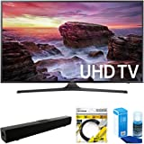 """Samsung Flat 39.9"""" LED 4K UHD 6 Series Smart TV 2017 Model (UN40MU6290) with Solo X3 Bluetooth Home Theater Sound Bar, 6ft HDMI Cable Black & Universal Screen Cleaner for LED TVs Large Bottle"""