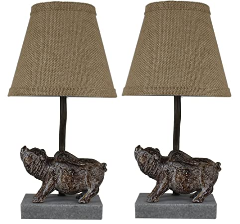 Urbanest Set Of 2 Flying Pig Mini Accent Lamps With Shades