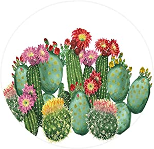 "Kitchen Decor Elastic Edged Polyester Fitted Table Cover Cactus Saguaro Barrel Hedge Hog Prickly Pear Opuntia Tropical Botany Garden s,Fits up Diameter 55"" Tables,Waterproof Stain-Resistant tablecloth"