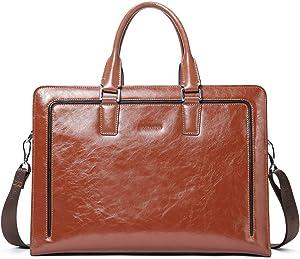 """BOSTANTEN Women Genuine Leather Briefcase Tote Business Vintage Handbag 15.6"""" Laptop Shoulder Bag Brown"""