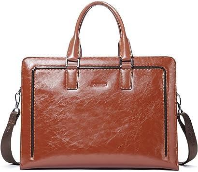 BOSTANTEN Leder Aktentaschen HerrenDamen 15.6 Zoll Laptoptaschen Businesstasche Schultertasche Henkeltasche Tote Tasche Braun