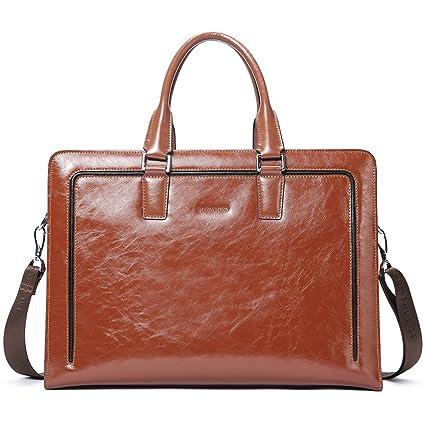 03f3b6a8fa14 BOSTANTEN Women Genuine Leather Briefcase Tote Business Vintage Handbag  15.6