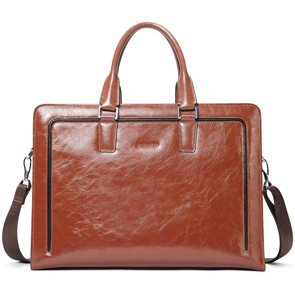 BOSTANTEN Women Genuine Leather Briefcase Tote Business Vintage Handbag 15.6'' Laptop Shoulder Bag