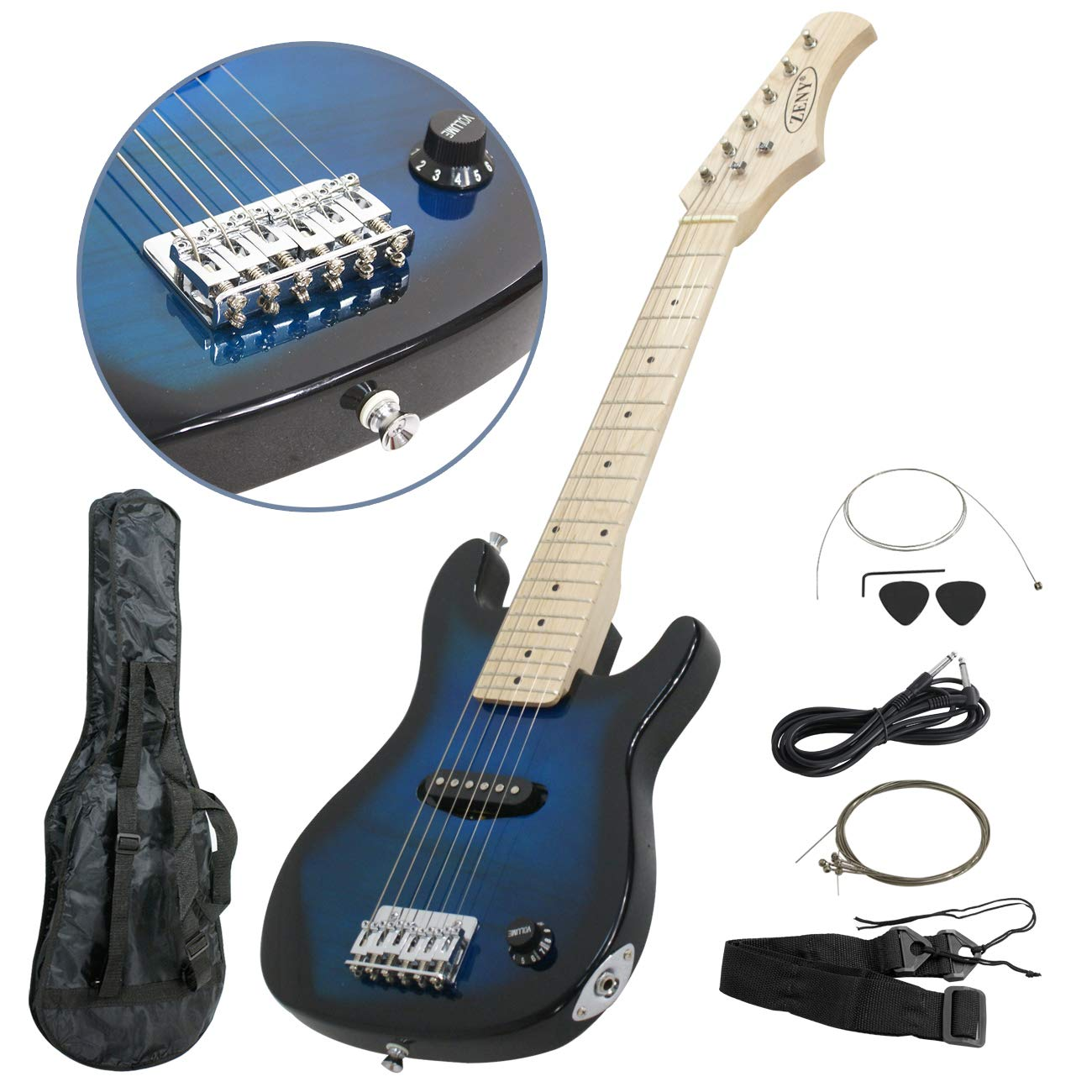 ZENY Blue 30'' Inch Kids Electric Guitar With Cable Cord shoulder strap New (Blue) by ZENY