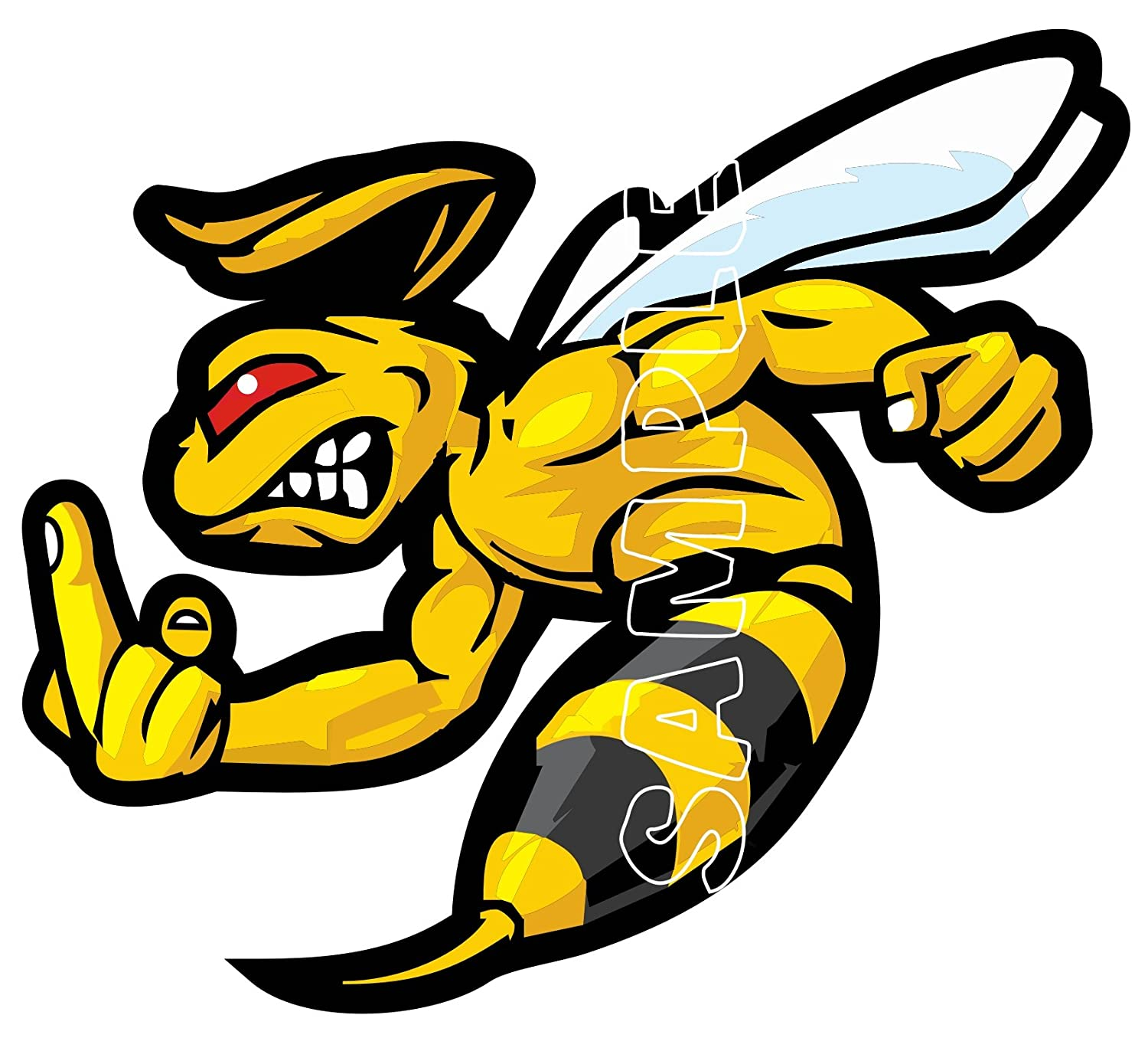 90MM SCOOTER MODS THE FINGER WASP HELMET STICKER DECAL use on Motorbikes, Mopeds, Helmet, Legshied. IPoppinshop