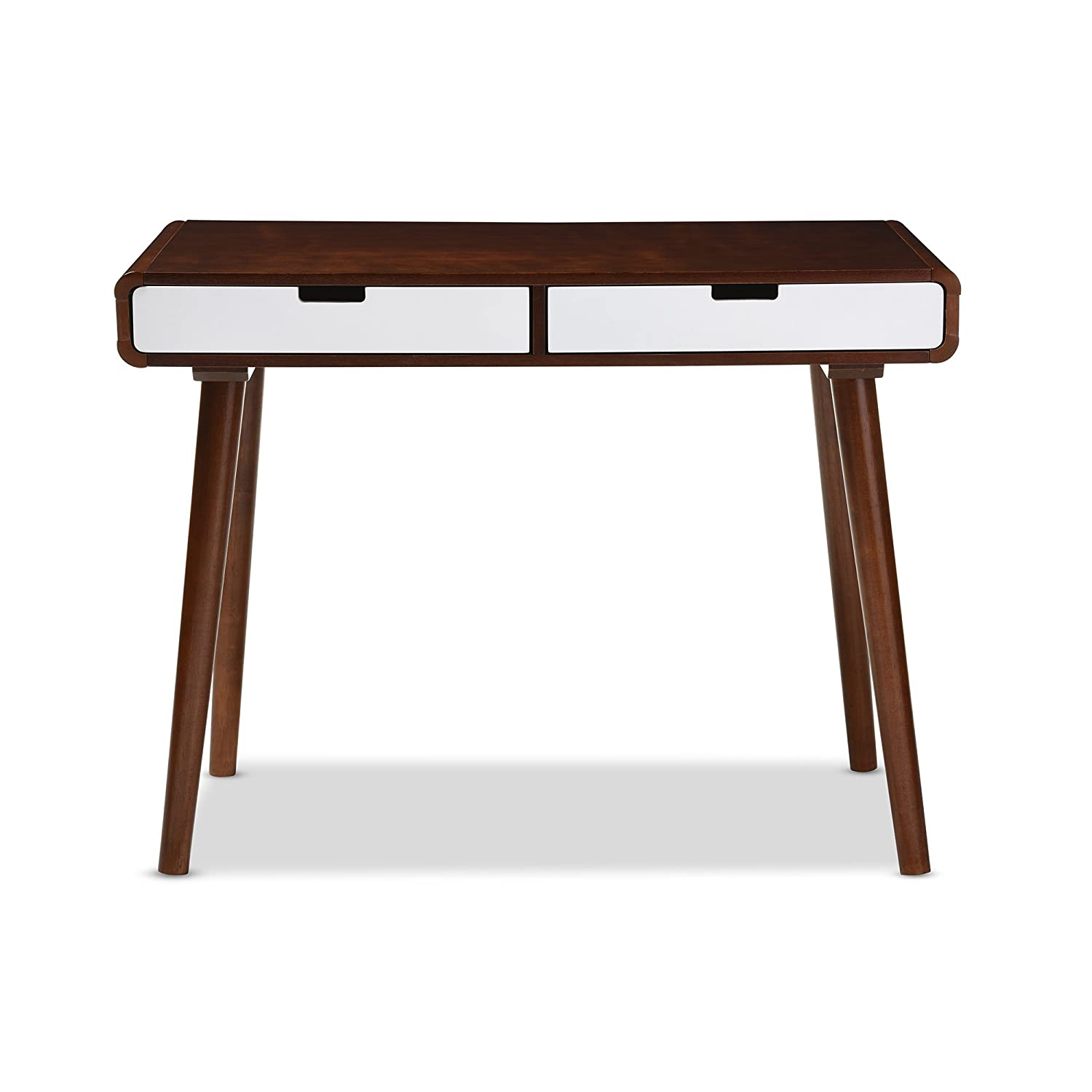 home office writing desk. Amazon.com: Baxton Furniture Studios Casarano Two-Tone Finish 2 Drawer Wood Home Office Writing Desk, Dark Walnut/White: Kitchen \u0026 Dining Desk A