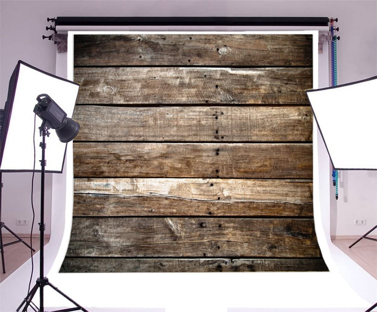 YongFoto 10x10ft Old Wood Plank Backdrop Rustic Retro Wooden Floor Photography Background Shabby Board Baby Shower Interior Decorations Kids Adult Portraits Photo Shoot Studio Props Wallpaper