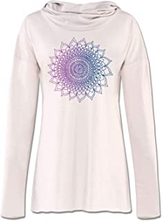 product image for Soul Flower Thousand Petals Organic Cotton Recycled Women's Cowl Neck Yoga Hoodie, Off-White Ladies Graphic Long Sleeve