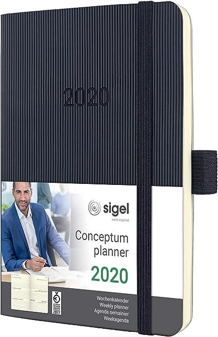 A6 ca copertina rigida Conceptum SIGEL C2013 Agenda settimanale 2020 nera