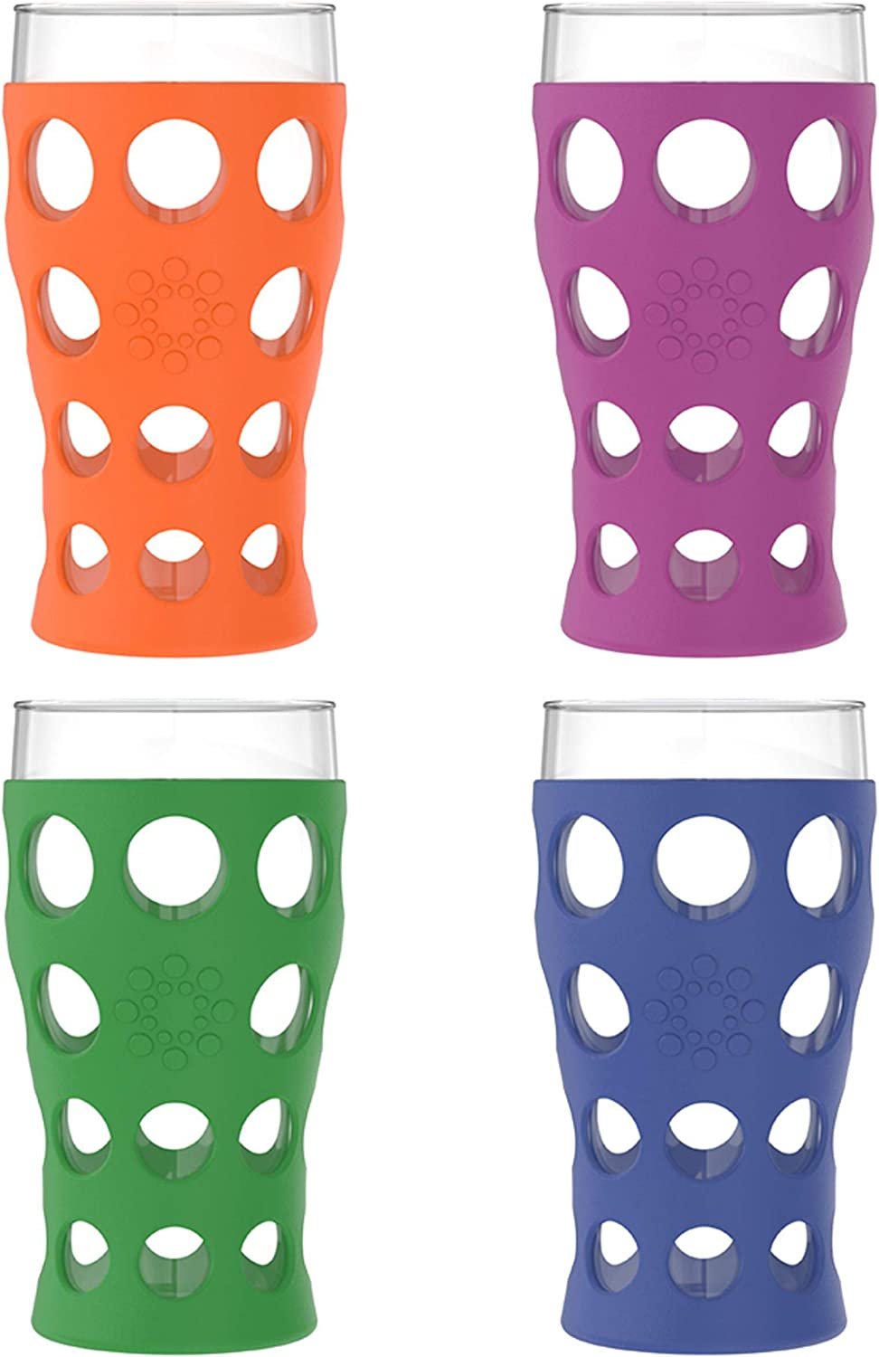 Lifefactory 20-Ounce BPA-Free Indoor/Outdoor Protective Silicone Sleeve Beverage Glass, 4-Pack, Orange, Grass Green, Cobalt, Huckleberry