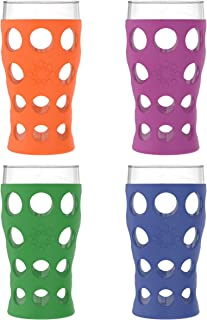 product image for Lifefactory 20-Ounce BPA-Free Indoor/Outdoor Protective Silicone Sleeve Beverage Glass, 4-Pack, Orange, Grass Green, Cobalt, Huckleberry