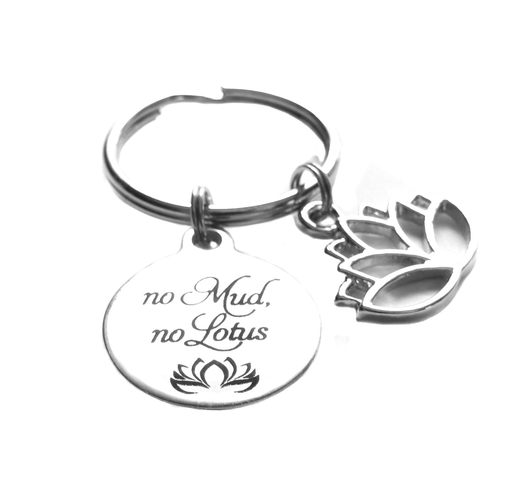 ''No Mud, No Lotus'' Lotus Charm Inspirational Yoga Reiki Zen Key Chain Bag Charm