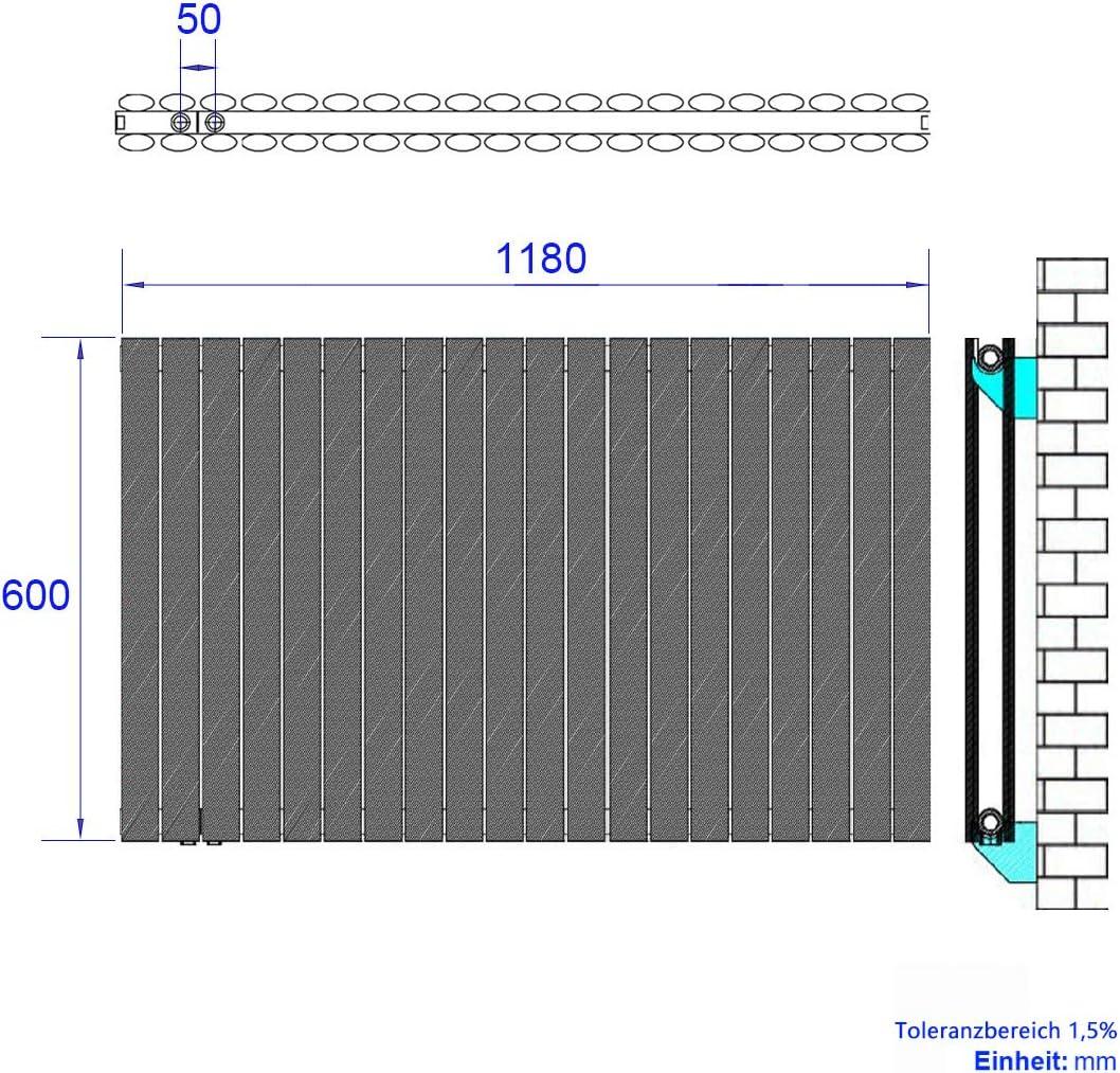 Antrazit Safeni Design 1629 Watt Heizk/örper 1600x480mm Oval Heizk/örper Vertikal,Heizwand Paneelheizk/örper Doppellagig Heizung,Mittelanschluss