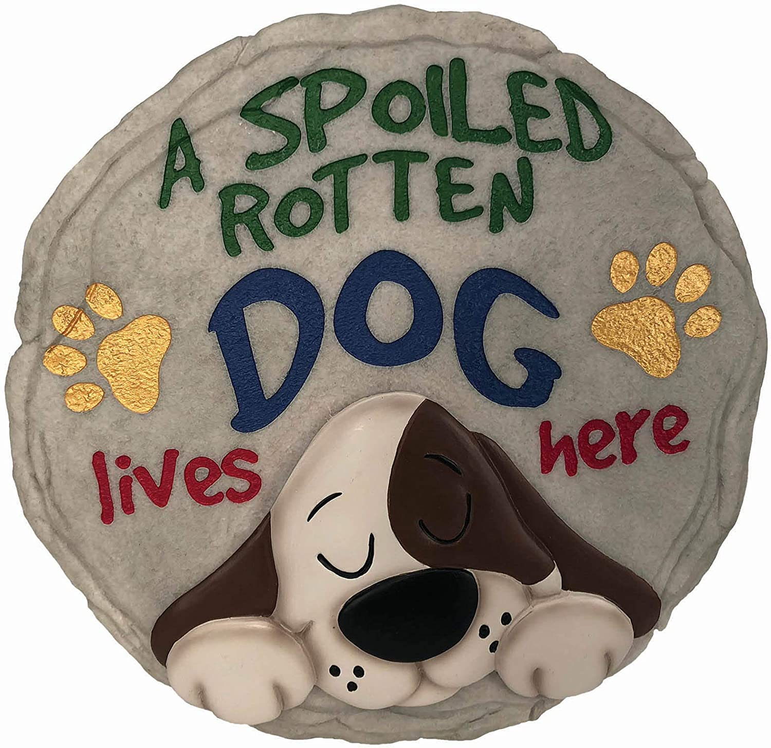 Spoontiques 13243 Spoiled Rotten Dog Stepping Stone, Multicolor