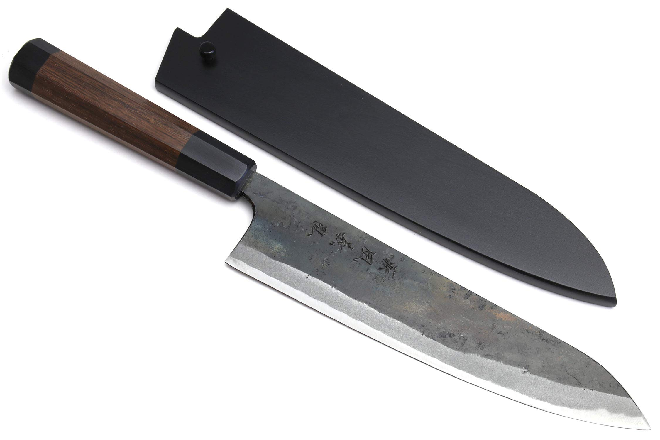 Yoshihiro Mizu Yaki Blue High Carbon Steel #1 Black Forged Gyuto Japanese Chef Knife Shitan Handle (7'' (180mm) & Saya) by Yoshihiro