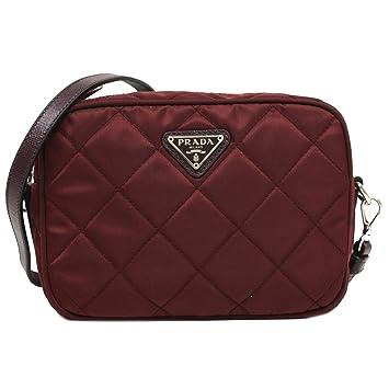 6d522c299fb1 Prada Tessuto Impuntu Quilted Nylon and Leather Crossbody Shoulder Bag  BT1028 - Burgundy Crimson Red  Amazon.in  Bags