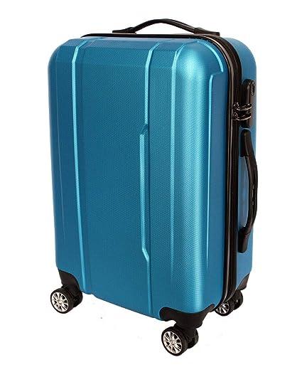 Maleta Avión Equipaje de Mano Viaje Cabina Trolley ABS Rígida 4 Ruedas 55x36x23 (Azul eléctrico)