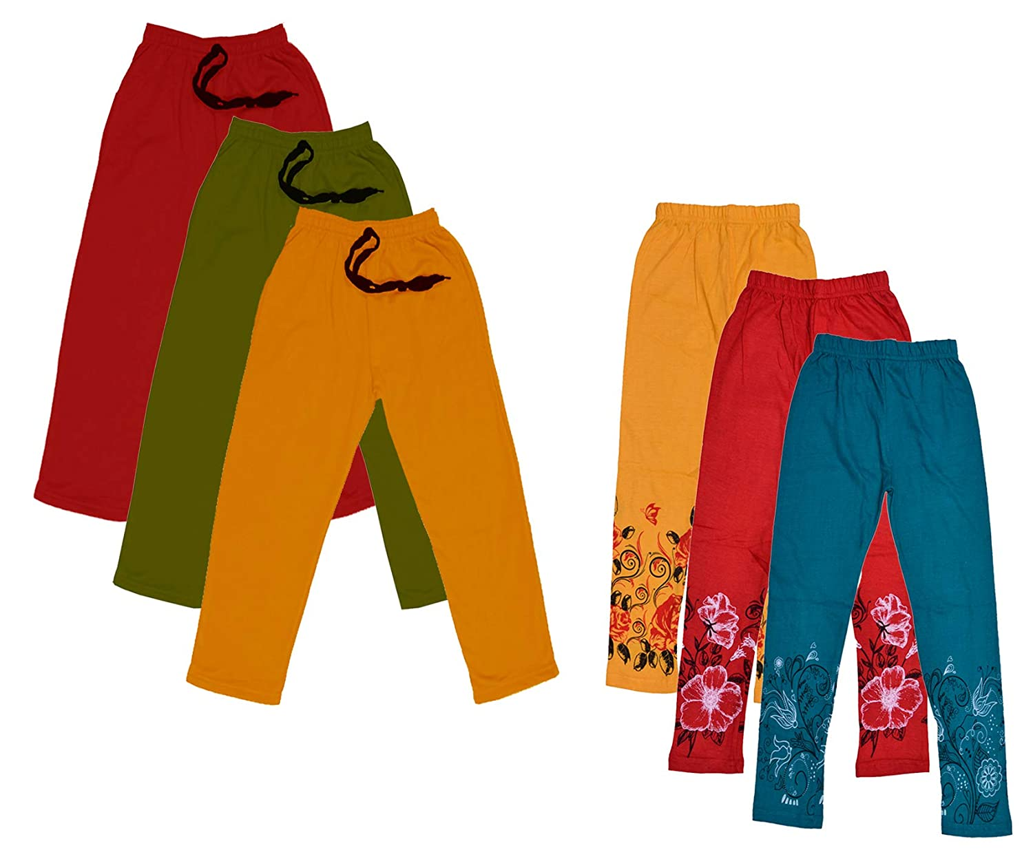 Pack of 4 Indistar Cotton Super Soft Solid Multicolor Leggings for Girls