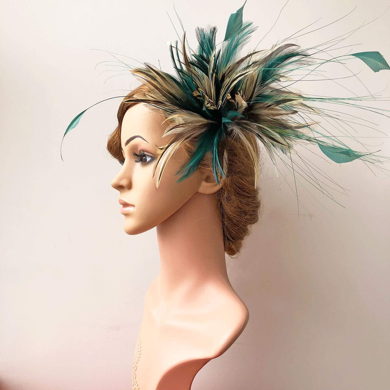 Emerald Color Goose Feather Arrangement Plumage Flower Picks Fascinator Headwear for Millinery Derby Pillbox Hat