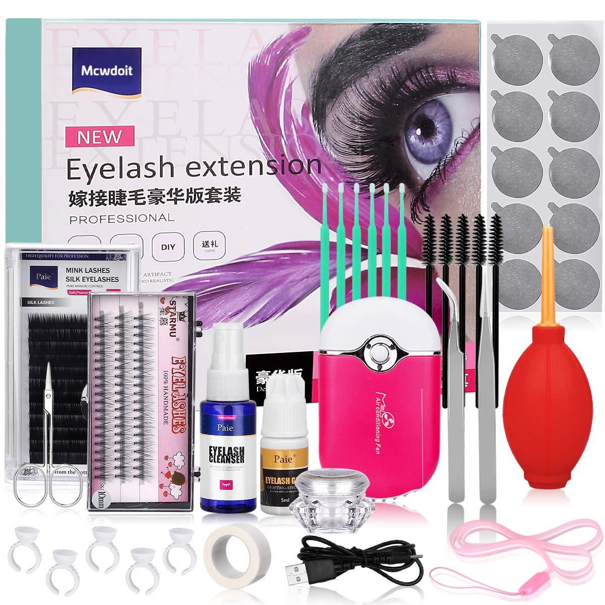 Pro 21 Pcs Eyelash Extension Kit, Mcwdoit Professional False Lashes Eyelashes Extension Practice Set Tools Lash Starter Kit Eyelash Grafting Training Tool for Makeup Practice Eye Lashes Graft