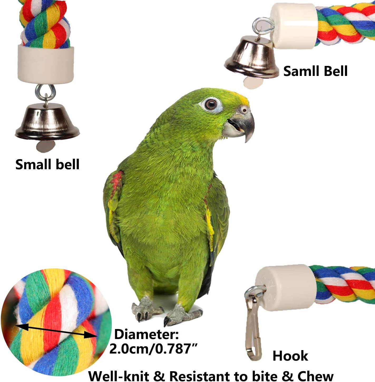 ILESON Bird Rope Perches Stand Ladder Toys for Parrots Parakeets Cockatiels Conures Macaw Lovebirds Budgies Swing Cage Accessories Comfy Bird Bungee Rope Perch Boing with Bell