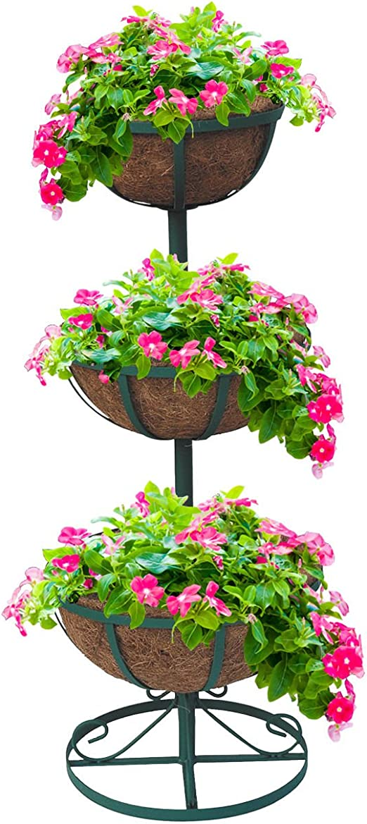 2 x 3 pisos fuente jardín maceta flor plantas flores con revestimientos cesta al aire libre: Amazon.es: Jardín