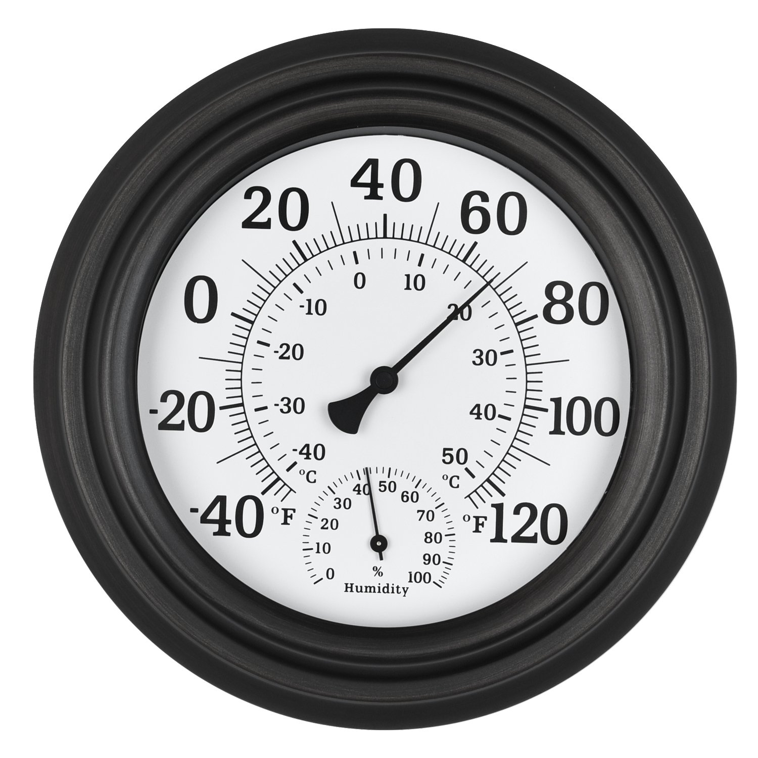 WiHoo 8''Indoor Outdoor Thermometer/Hygrometer of Antique Copper Finish Decorative Wall Thermometer for Outdoor/patio/room