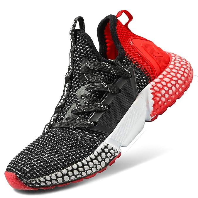 VITIKE Jungen Schuhe Mädchen Sneaker Damen Sportschuhe Outdoor Schuhe Jungen Turnschuhe Laufschuhe Schnürer Freizeit Sportschuhe Sneaker, 6-schwarz/Rot, 31 EU