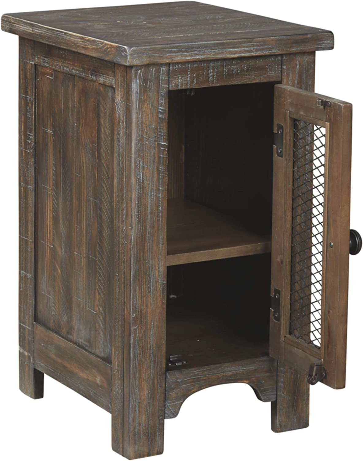 Signature Design by Ashley - Danell Ridge Chairside End Table w/ Fixed Shelf, Brown