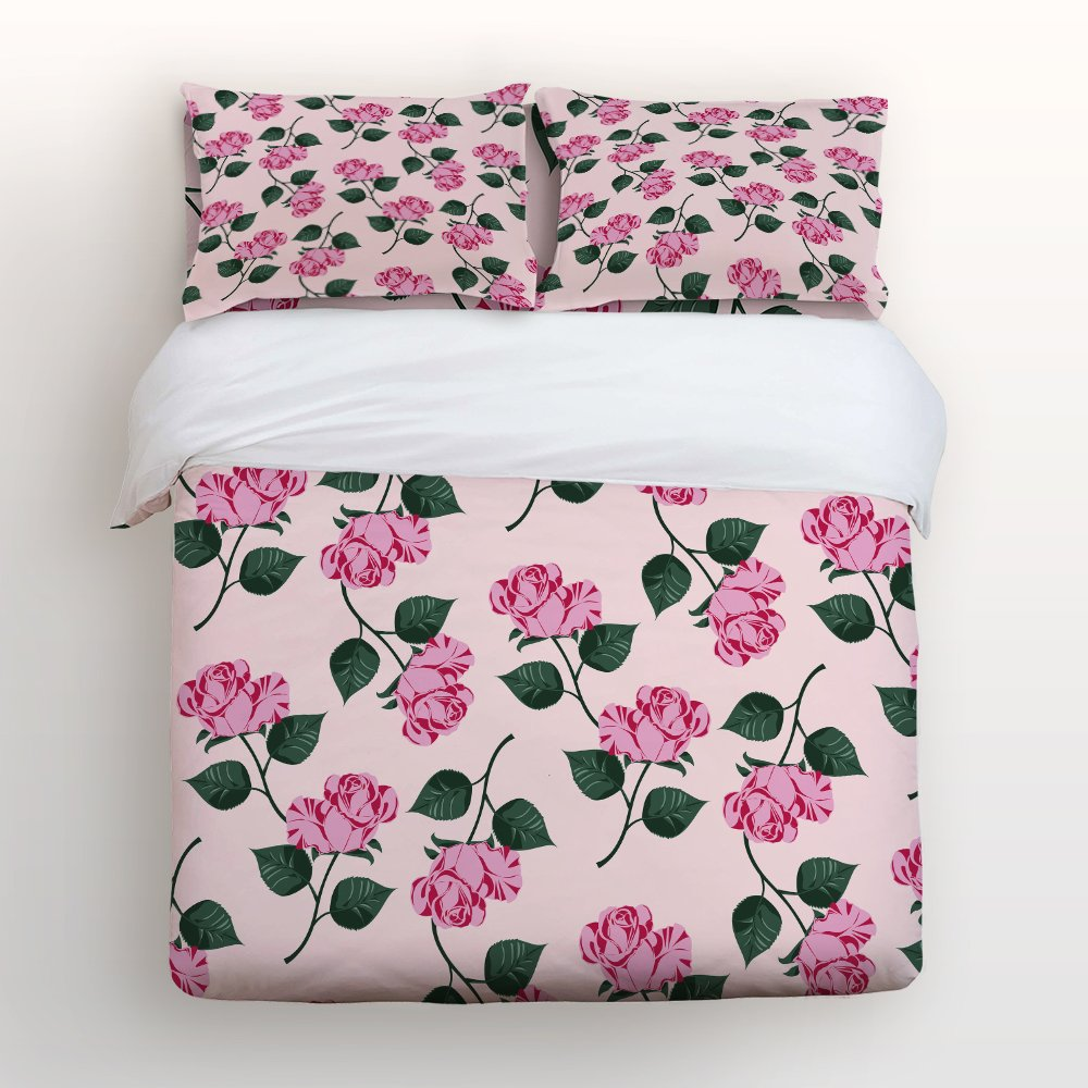 Libaoge 4 Piece Bed Sheets Set, Romantic Pink Purple Roses Design Pink Floral Print, 1 Flat Sheet 1 Duvet Cover and 2 Pillow Cases