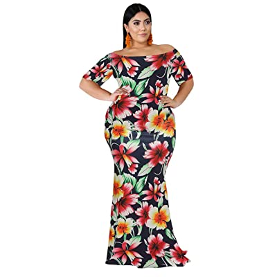 FacnyPrintMe Women's Plus Size Maxi Dresses Printed Formal Party Dress at Women's Clothing store
