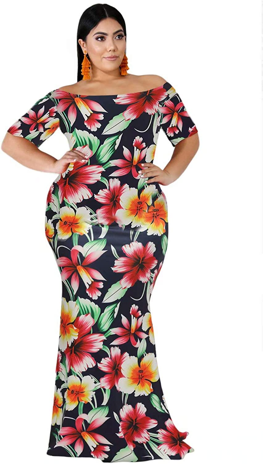 FacnyPrintMe Women's Plus Size Maxi Dresses Printed Formal Party Dress