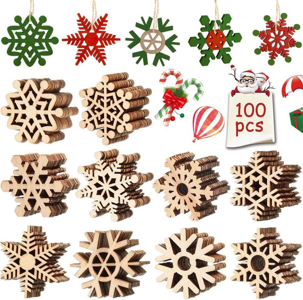 FANDE Copo de Nieve Calado, 100 Pcs Navidad Madera Adorno, Adornos Madera, Navidad de Copos Nieve Mixtos, Navidad Ornamento Colgante Decoración Rebanadas Scrapbooking Bricolaje DIY Artesanía (50 mm)