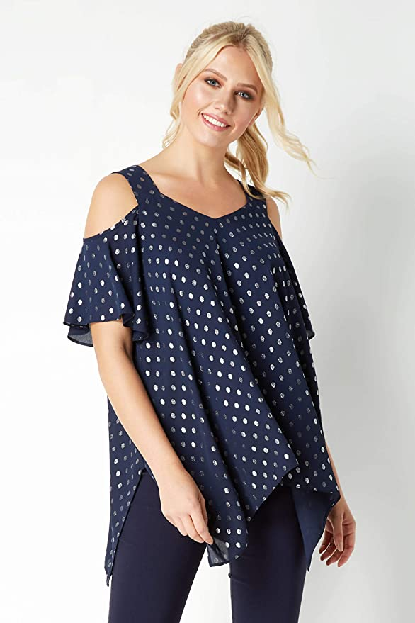 c8a23186b61cf Roman Originals Women s Polka Dot Cold Shoulder Hanky Hem Top at Amazon  Women s Clothing store