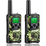 Kids Walkie Talkies with Vox-Hands Free, Westayin Range Up to 4+Mile Long Range Walkie Talkies, 22 Channels with Crystal Sound, Walkie Talkies for Adults, 2 Pack (Green Camo)