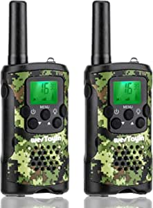 WES TAYIN wesTayin Kids Walkie Talkies, Range Up to 4 Miles Long Range Walkie Talkies, 22 Channels with Crystal Sound, Walkie Talkies for Adults, 2 Pack (Green Camo)