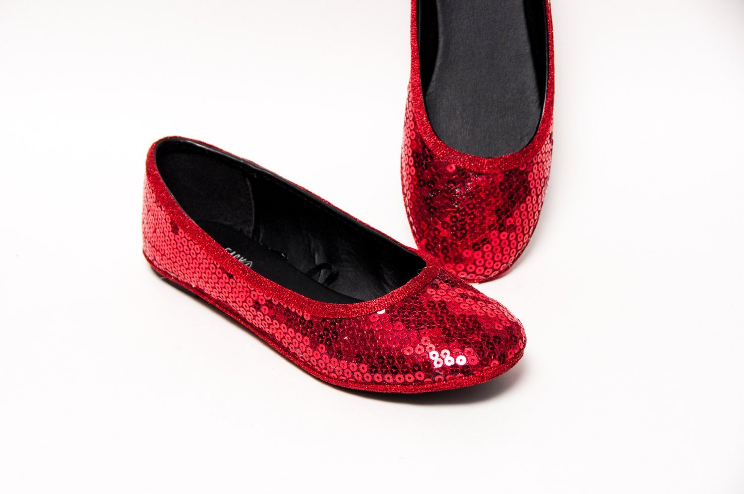 Sequin Ruby Red Ballet Flats Slippers