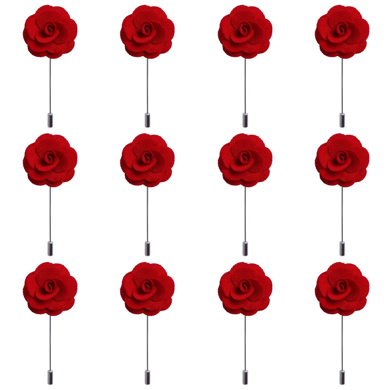 RareLove 12pcs Red Lapel Pin Rose Wedding Boutonniere Set For Men Flower by RareLove