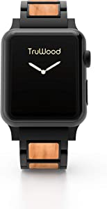 TruWood Worldly Wooden Watch Band Compatible with Apple Watch 38mm 40mm Women Men, Strap for iWatch Series 6, Series 5, Series 4, Series 3, Series 2, Series 1 (Matte Black/Olive Wood, 38/40mm)