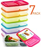 Meal Prep Containers 7 Pack,Bento Lunch Boxes - 2 Compartment Food Storage Container with Lids,Portion Control,Microwave,Dishwasher,Freezer Safe