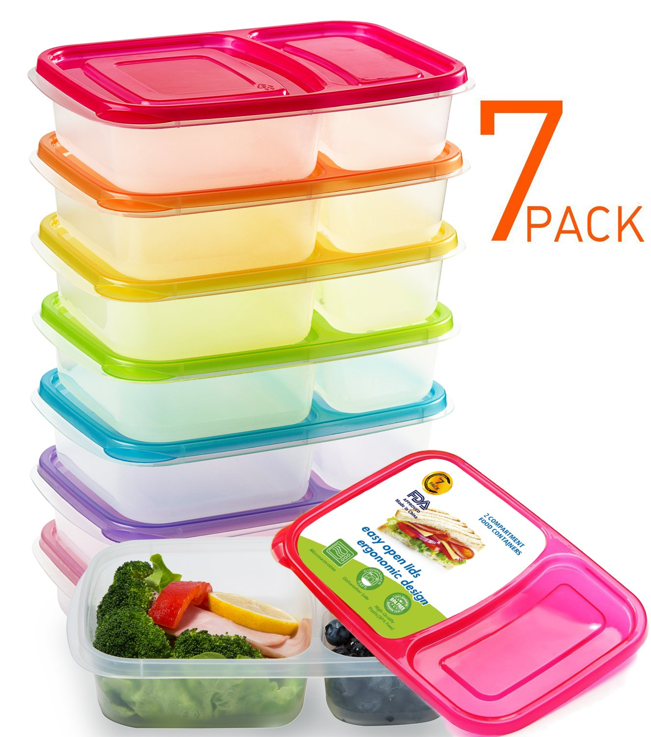 Meal Prep Containers 2 Compartment Bento Lunch Box Containers with Lids Set of 7,Plastic Food Storage Containers with Lids,BPA Free,Reusable,Microwave,Dishwasher Safe,&Portion Control by Mealcon