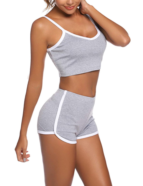AGFAN Sleepwear Women V Neck Pajamas Sleeveless PJ Set Soft Cami Set with Short Pants Nightwear