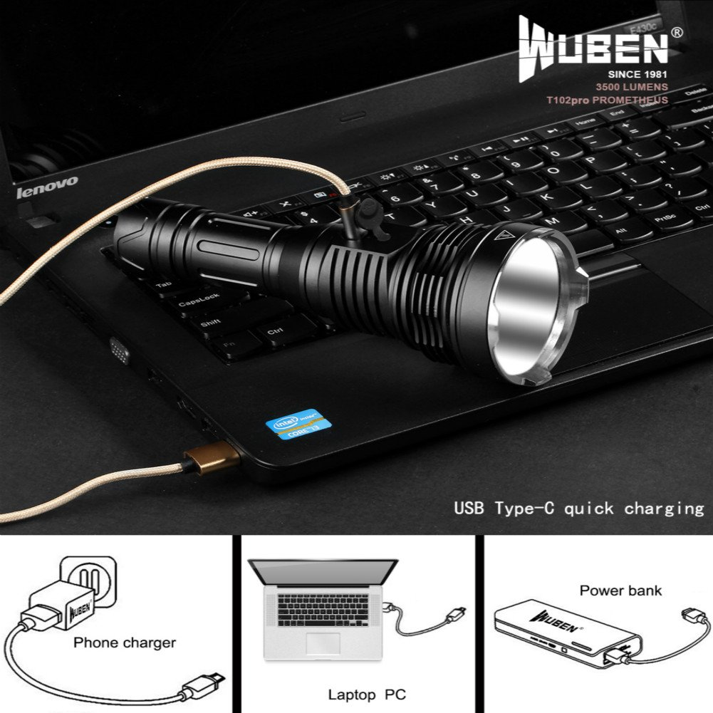 WUBEN T102pro Prometheus 3500 Lumens Flashlight with power indicator high drain battery 26650 by WUBEN (Image #5)