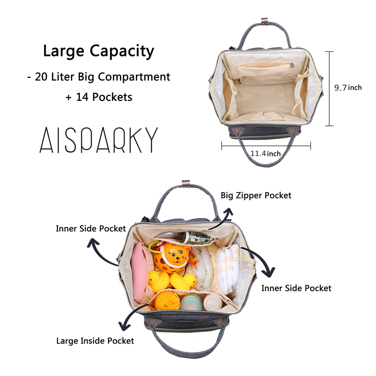 AISPARKY Diaper Bag Backpack Multi-Function Waterproof Travel Nappy Bag for Baby Care, Large Capacity, Durable and Stylish Changing Bag for Mom and Dad, Black by AISPARKY (Image #6)