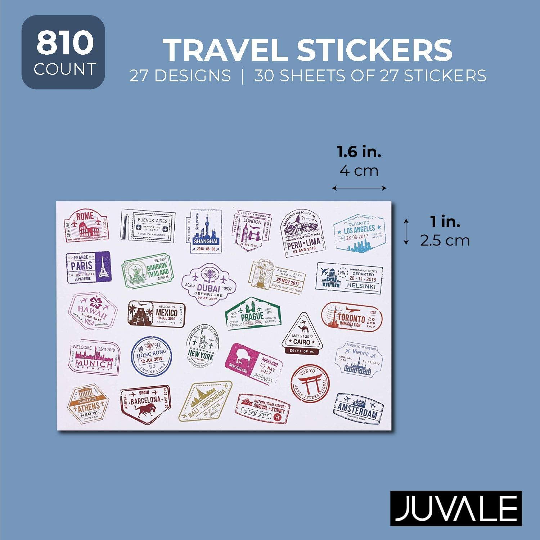 Bright Creations 810 Conteggio Adesivi da Viaggio PVC Bianco timbri Decorativi Adesivi sigillanti in 4 Disegni