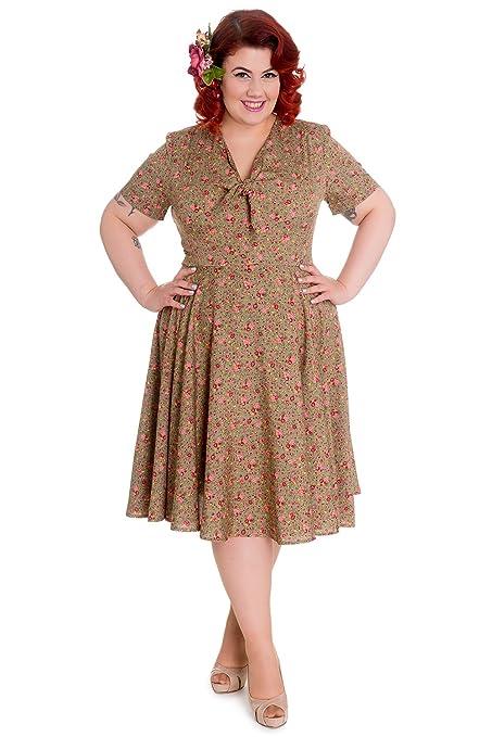 1940s Plus Size Dresses | Swing Dress, Tea Dress Hell Bunny Plus Lovely Sweet Lady Green & Pink Mini Rose Floral Print Flare Dress $73.00 AT vintagedancer.com