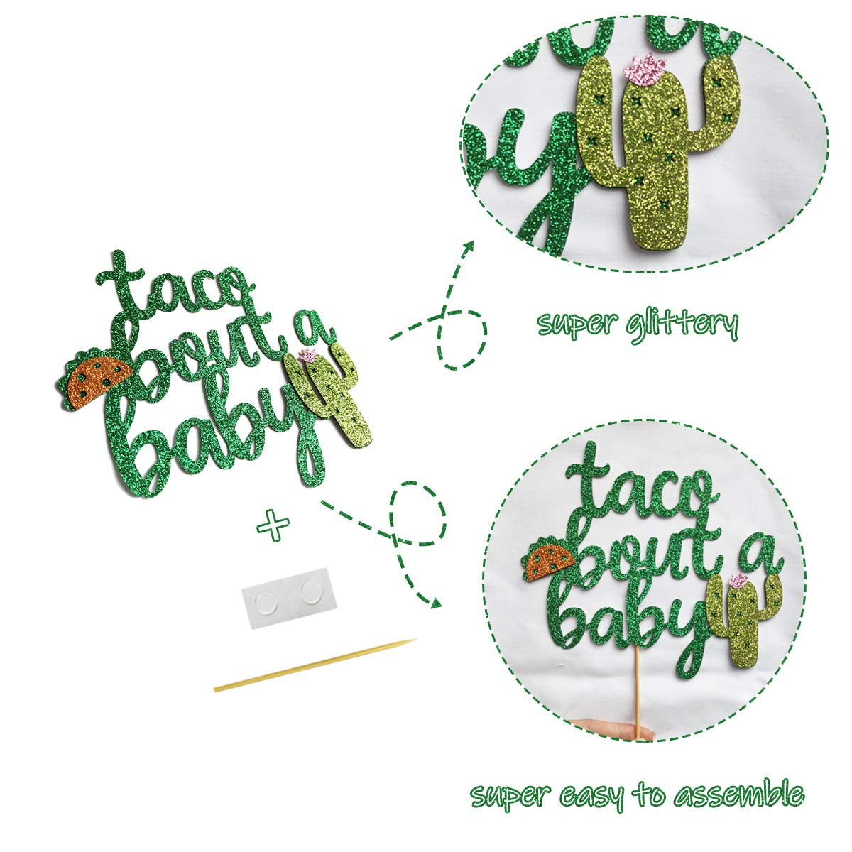 Finseng Taco Bout A Baby Gold Glitter Banner Sign Garland for Mexican Fiesta Themed Baby Shower Decorations by Glamoncha (Image #3)