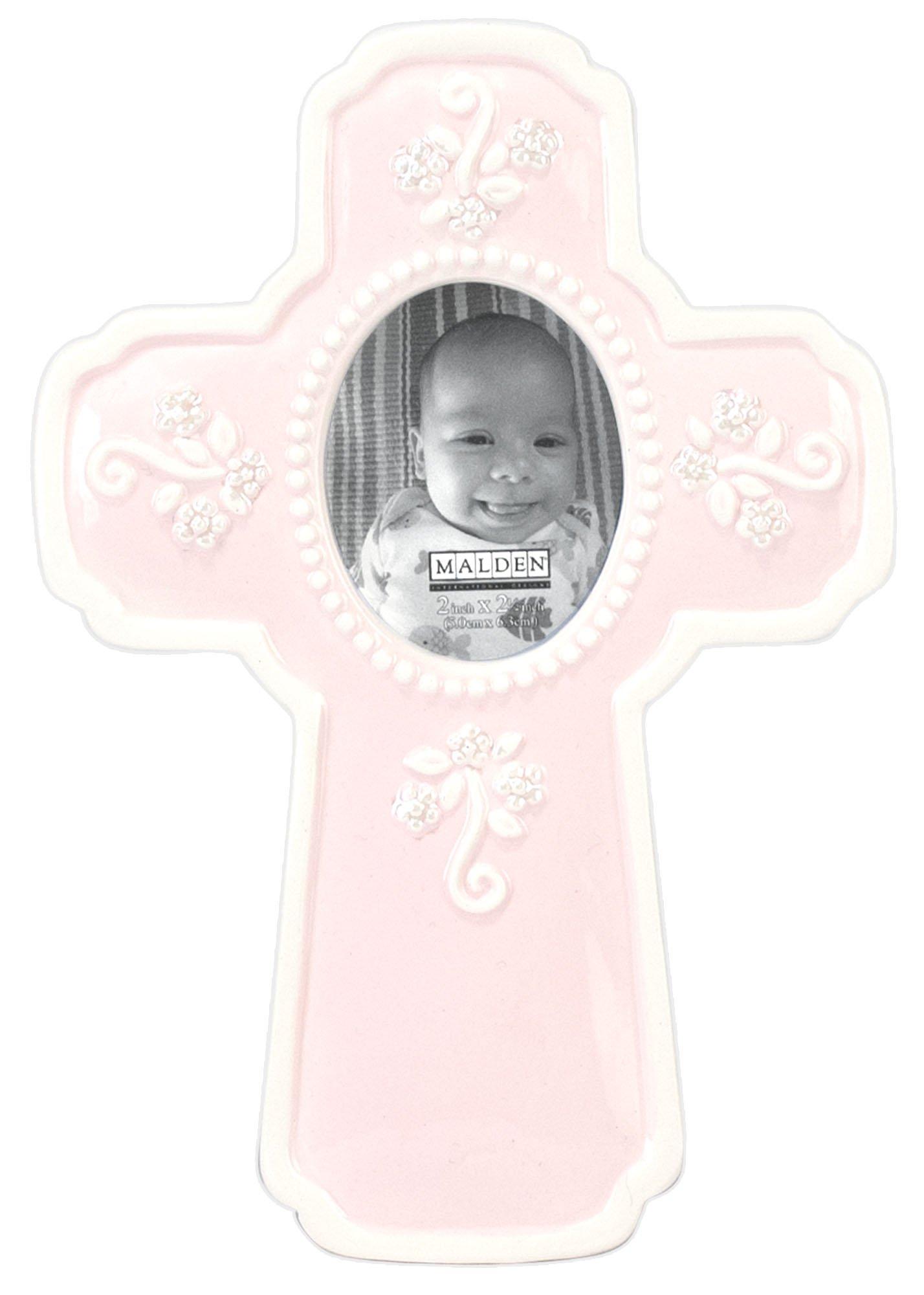 Malden International Designs Glazed Ceramic In a Cross Picture Frame, 2x2, Pink